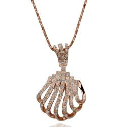 Vienna Jewelry Rose Gold Plated Laser Cut Sea-Shell Necklace - Thumbnail 0