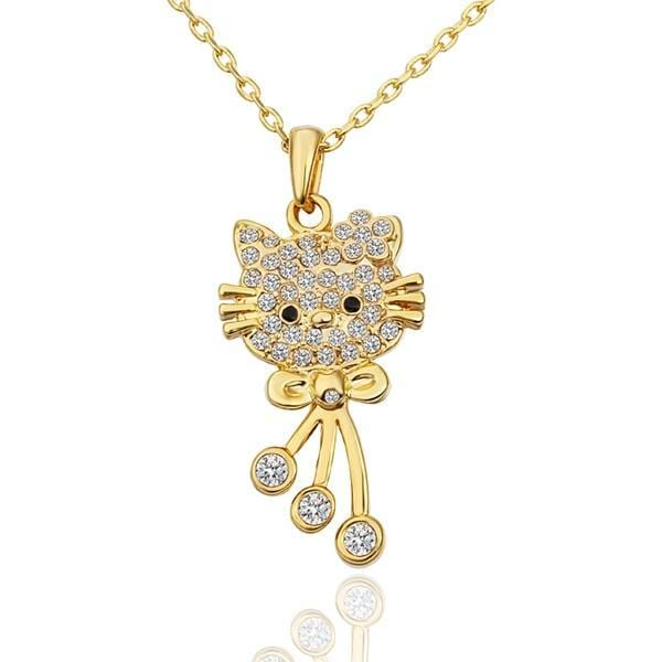 Vienna Jewelry Gold Plated Hello Kitty Inspired Necklace