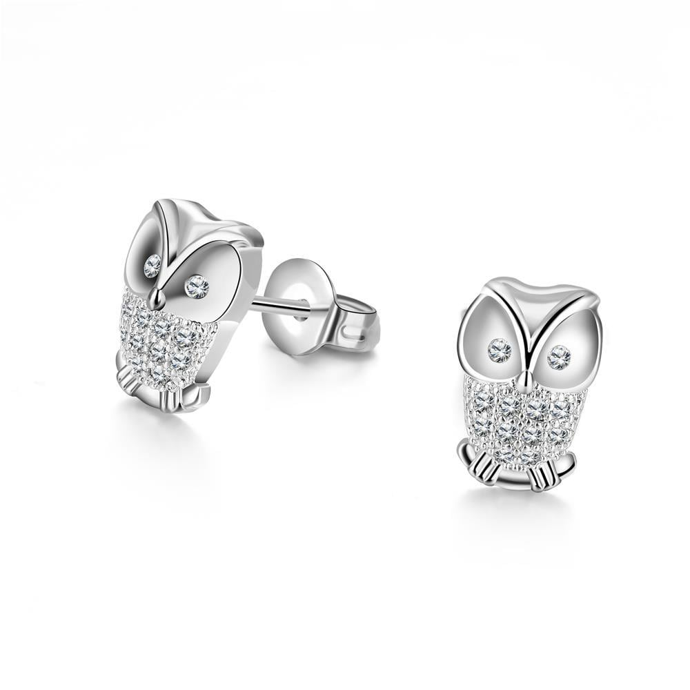 Vienna Jewelry 18K White Gold Plated Owl Studded Earrings