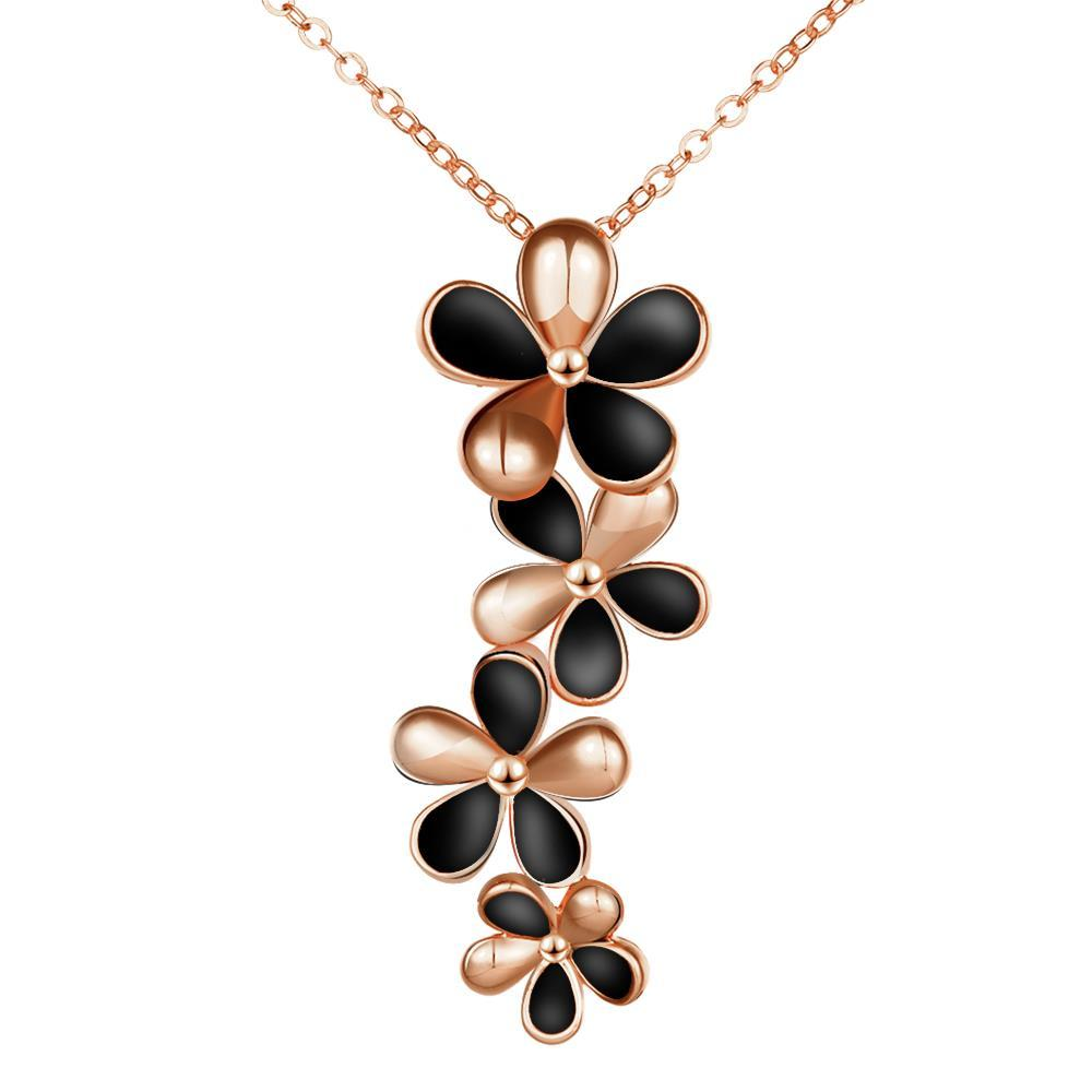 Vienna Jewelry Rose Gold Plated Onyx Floral Dangling Necklace
