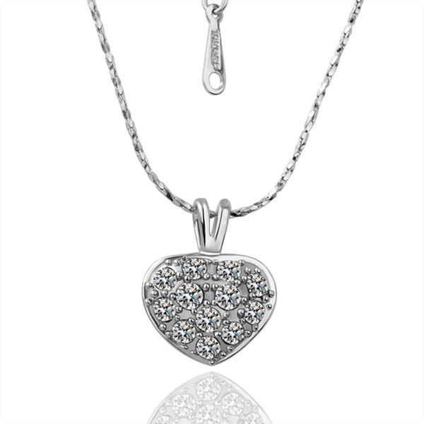 Vienna Jewelry White Gold Plated Petite Heart Necklace with Crystal Jewels