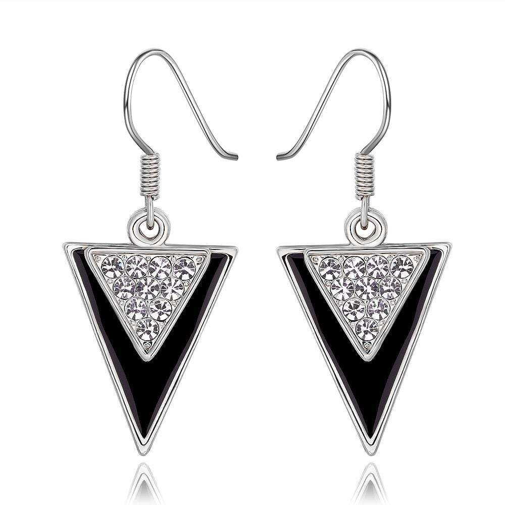 Vienna Jewelry 18K White Gold Downwards Triangular Drop Down Earrings Made with Swarovksi Elements