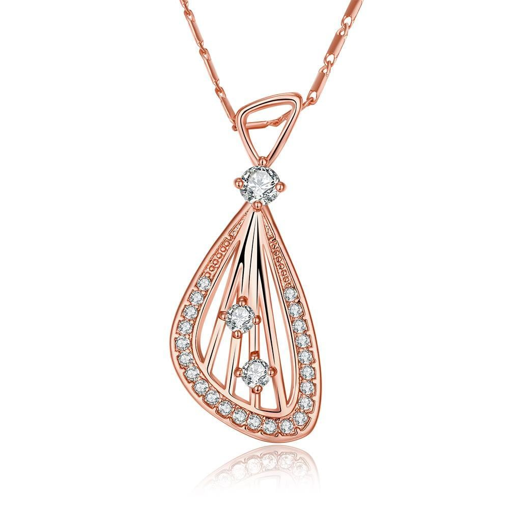 Vienna Jewelry Rose Gold Plated Harp Design Necklace