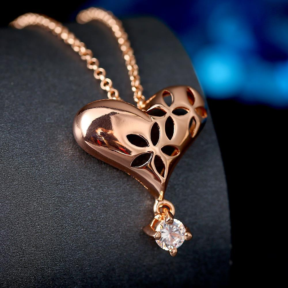 Vienna Jewelry Rose Gold Plated Laser Cut Heart Crystal Necklace