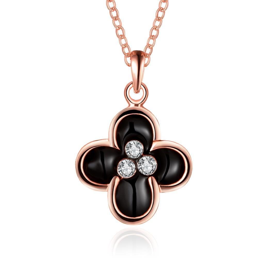 Vienna Jewelry Rose Gold Plated Quad Onyx Clover Necklace