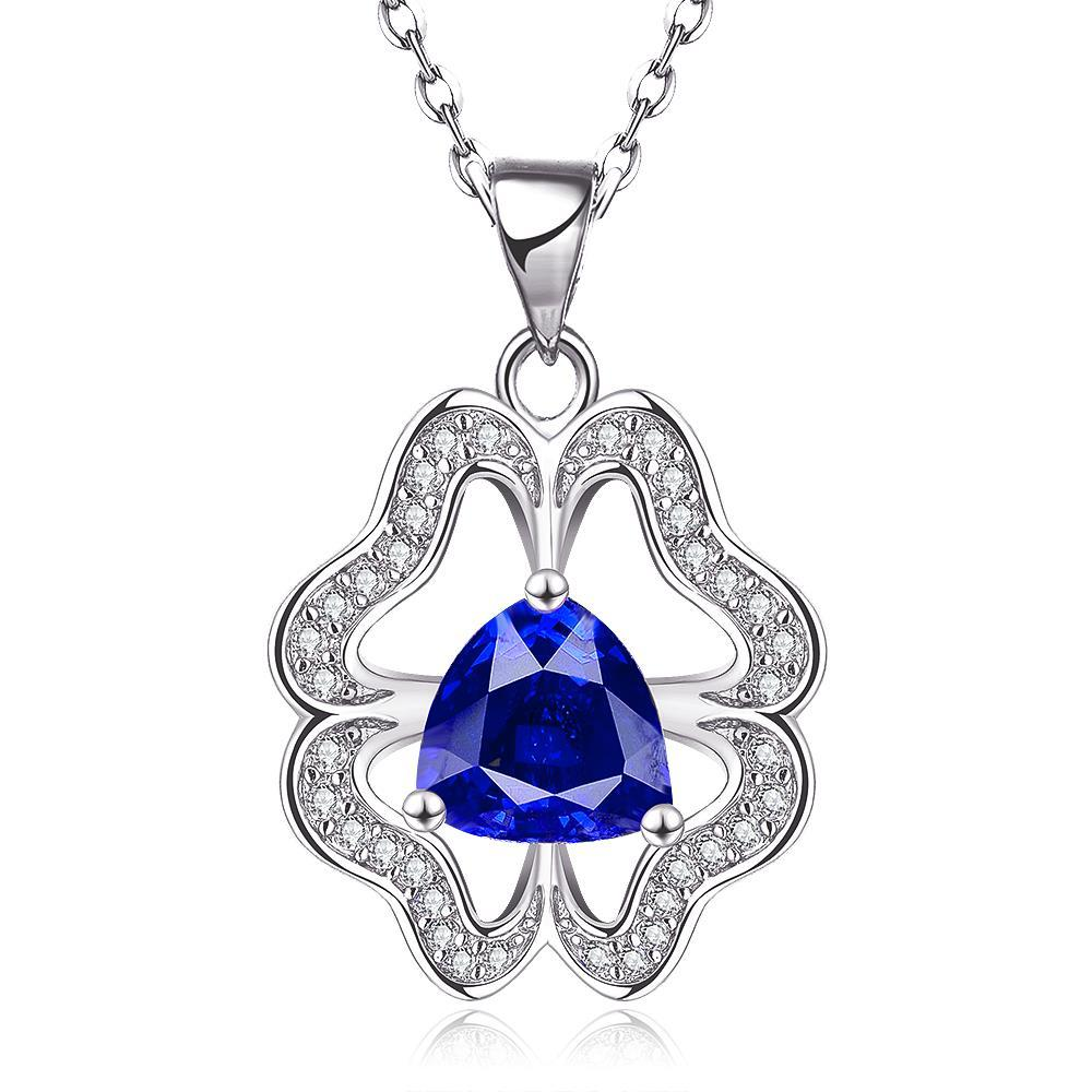 Vienna Jewelry White Gold Plated Abstract Sapphire Clover Necklace