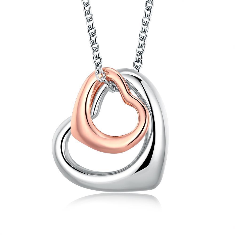 Vienna Jewelry 18K RoseWhite GP interlocking Hearts Necklace