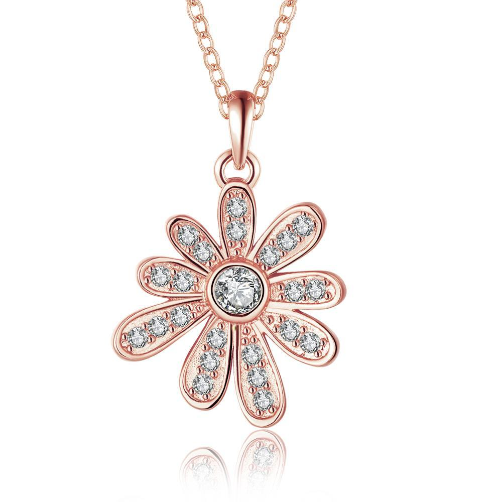 Vienna Jewelry Rose Gold Plated Spiral Snowflake Drop Necklace