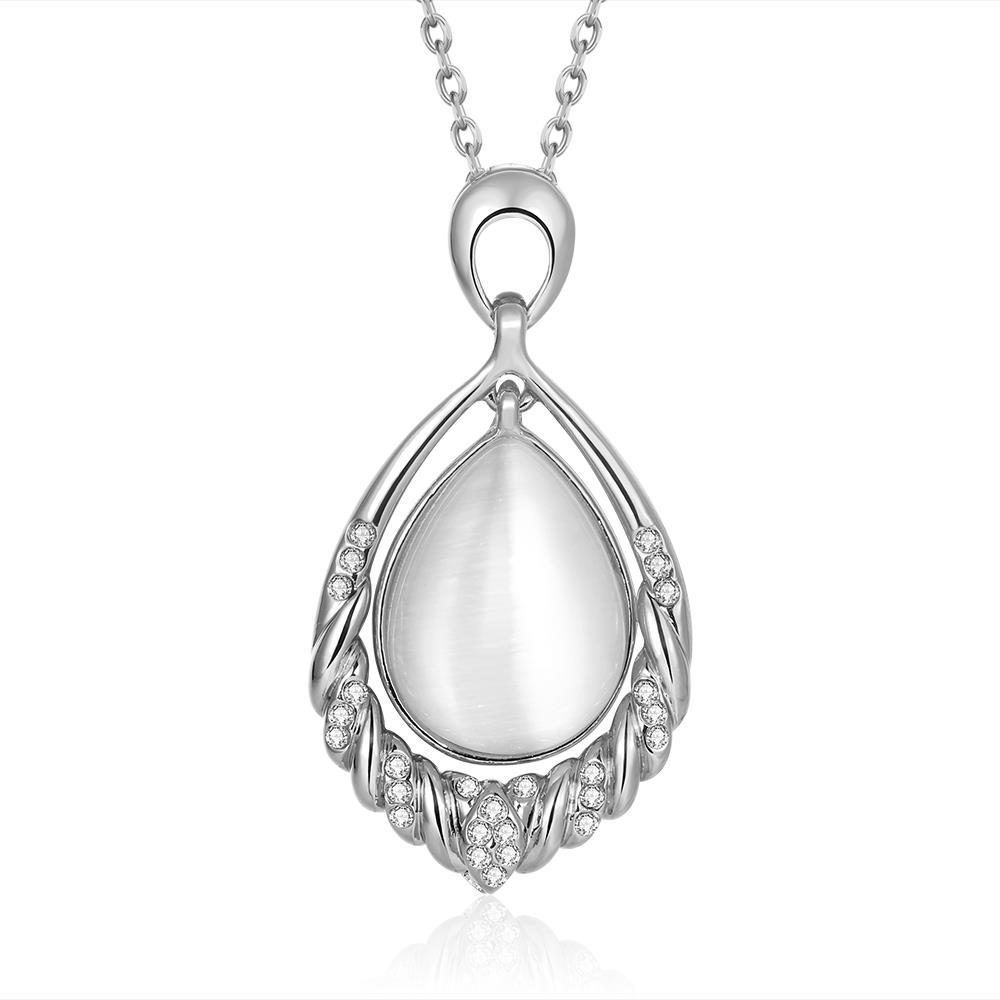 Vienna Jewelry White Gold Plated Ivory Classical Drop Necklace