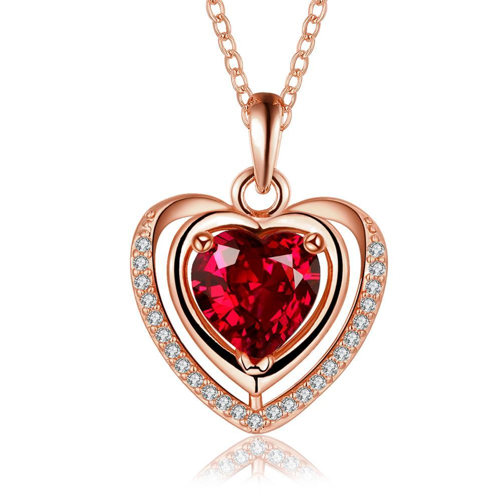 Vienna Jewelry Rose Gold Plated Ruby Heart Shaped Necklace