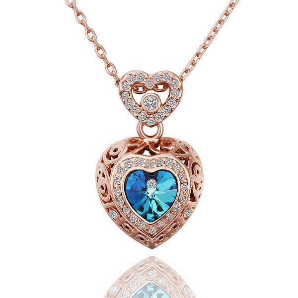 Vienna Jewelry Rose Gold Plated Saphire Encrusted Necklace
