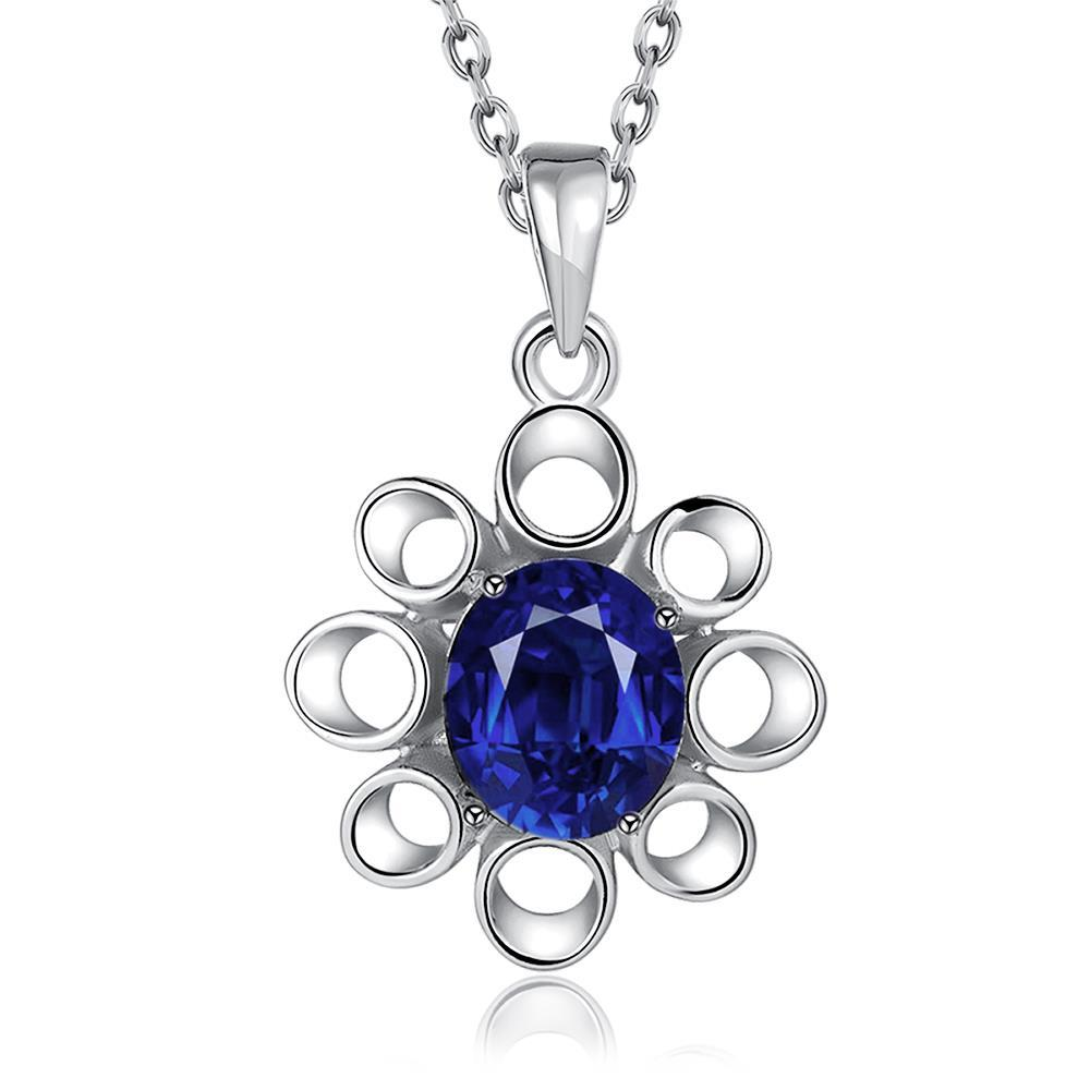 Vienna Jewelry White Gold Plated Hollow Sapphire Snowflake Necklace