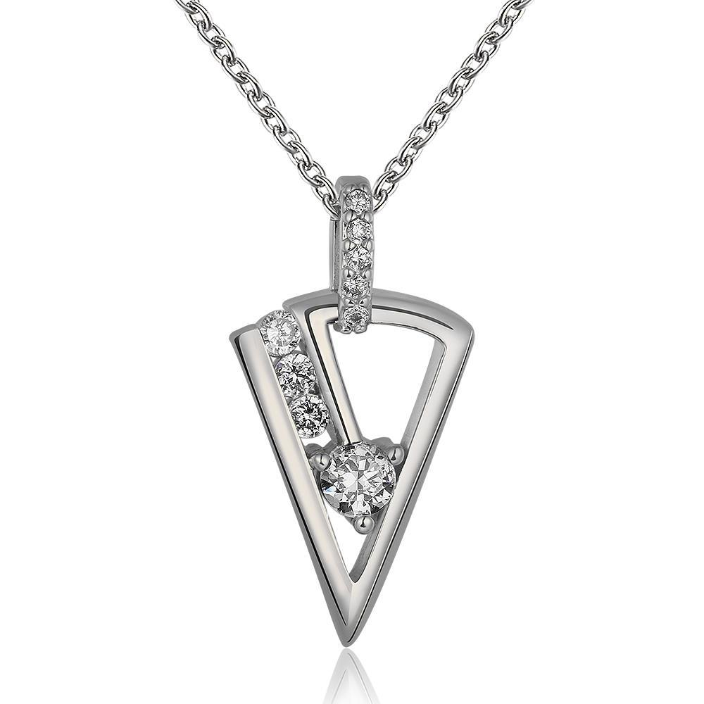 Vienna Jewelry White Gold Plated Triangular Drop Crystal Necklace
