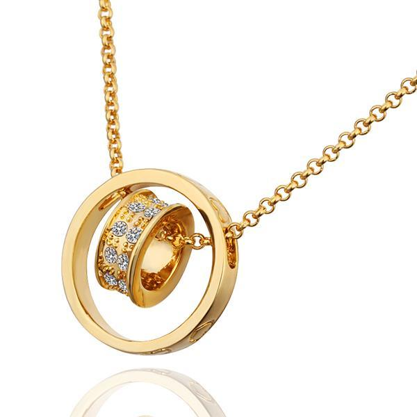 Vienna Jewelry Gold Plated Rolling Circular Necklace