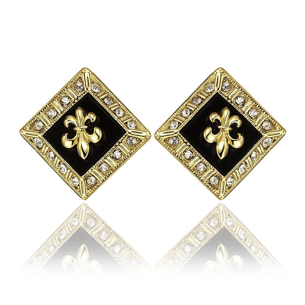 Vienna Jewelry 18K Gold Diamond Shaped Emblem Input Stud Earrings Made with Swarovksi Elements