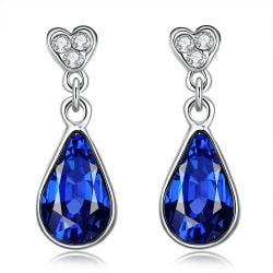 Vienna Jewelry 18K Italian WhiteGold Sapphire Drop Earring - Thumbnail 0