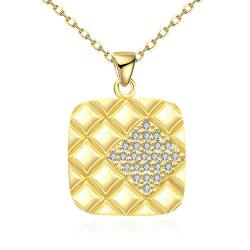 Vienna Jewelry Gold Plated Square * Pendant Necklace - Thumbnail 0