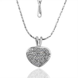 Vienna Jewelry White Gold Plated Petite Heart Necklace with Crystal Jewels - Thumbnail 0