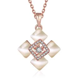 Vienna Jewelry Rose Gold Plated Quad Diamond Ivory Necklace - Thumbnail 0