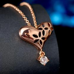 Vienna Jewelry Rose Gold Plated Laser Cut Heart Crystal Necklace - Thumbnail 0
