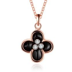 Vienna Jewelry Rose Gold Plated Quad Onyx Clover Necklace - Thumbnail 0