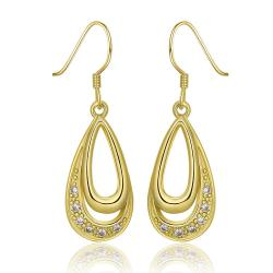 Vienna Jewelry 18K Gold Hollow Oval Shaped Covered With Crystals Drop Down Earrings Made with Swarovksi Elements - Thumbnail 0