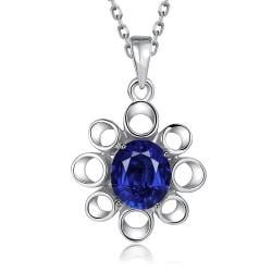 Vienna Jewelry White Gold Plated Hollow Sapphire Snowflake Necklace - Thumbnail 0