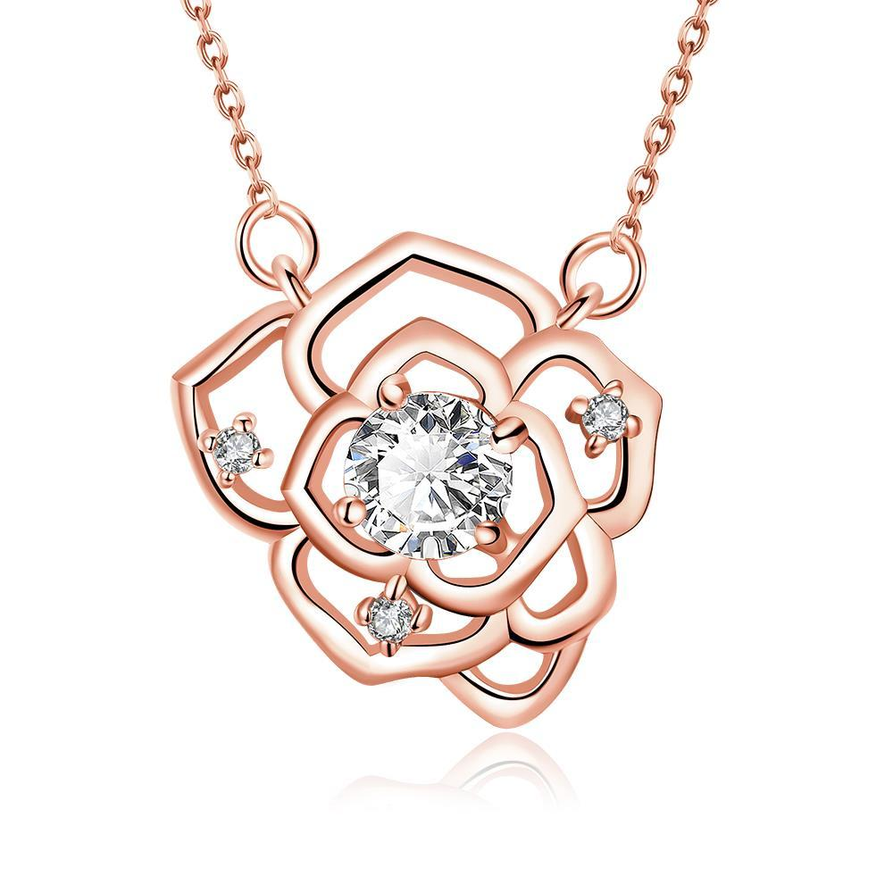 Vienna Jewelry Rose Gold Plated Floral Emblem Covered with Crystal Necklace