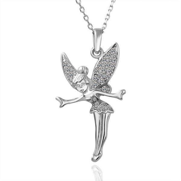 Vienna Jewelry White Gold Plated Flying Angel Necklace