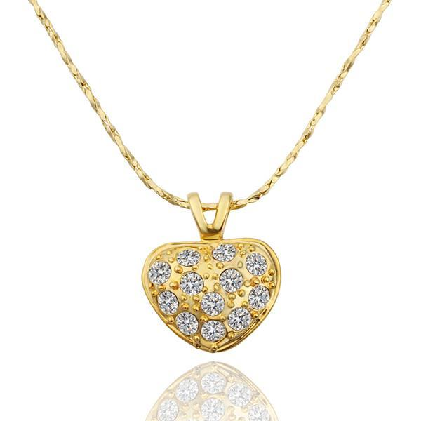 Vienna Jewelry Gold Plated Petite Heart Shaped Covered with Jewels Necklace