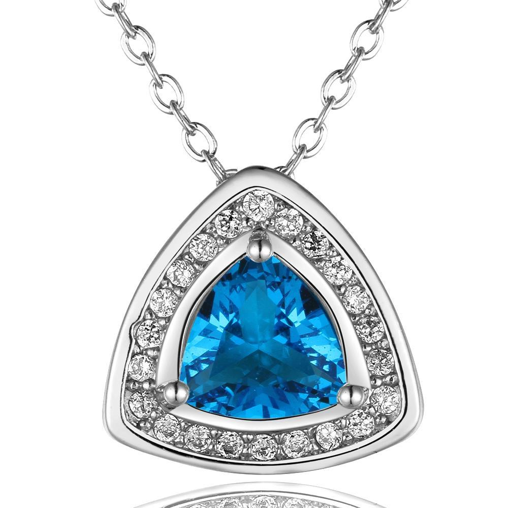 Vienna Jewelry White Gold Plated Pyramid Drop Necklace