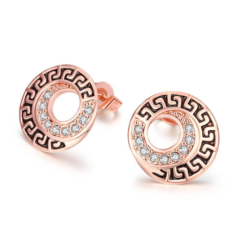 Vienna Jewelry 18K Rose Gold Plated Medallion Stud Earring