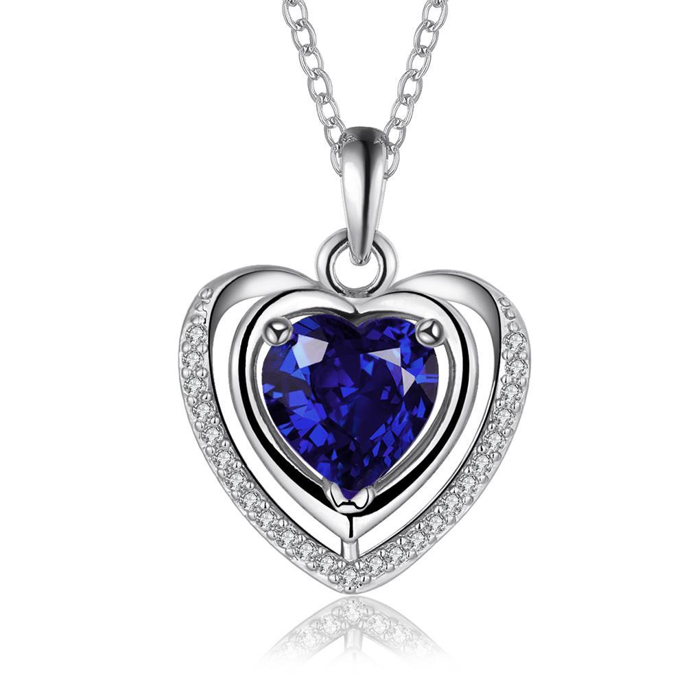 Vienna Jewelry White Gold Plated Sapphire Heart Shaped Necklace