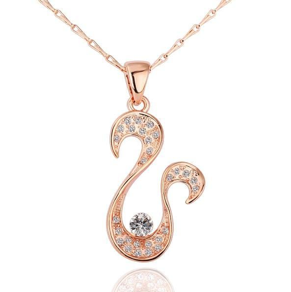 Vienna Jewelry Rose Gold Plated Harp Shaped Necklace