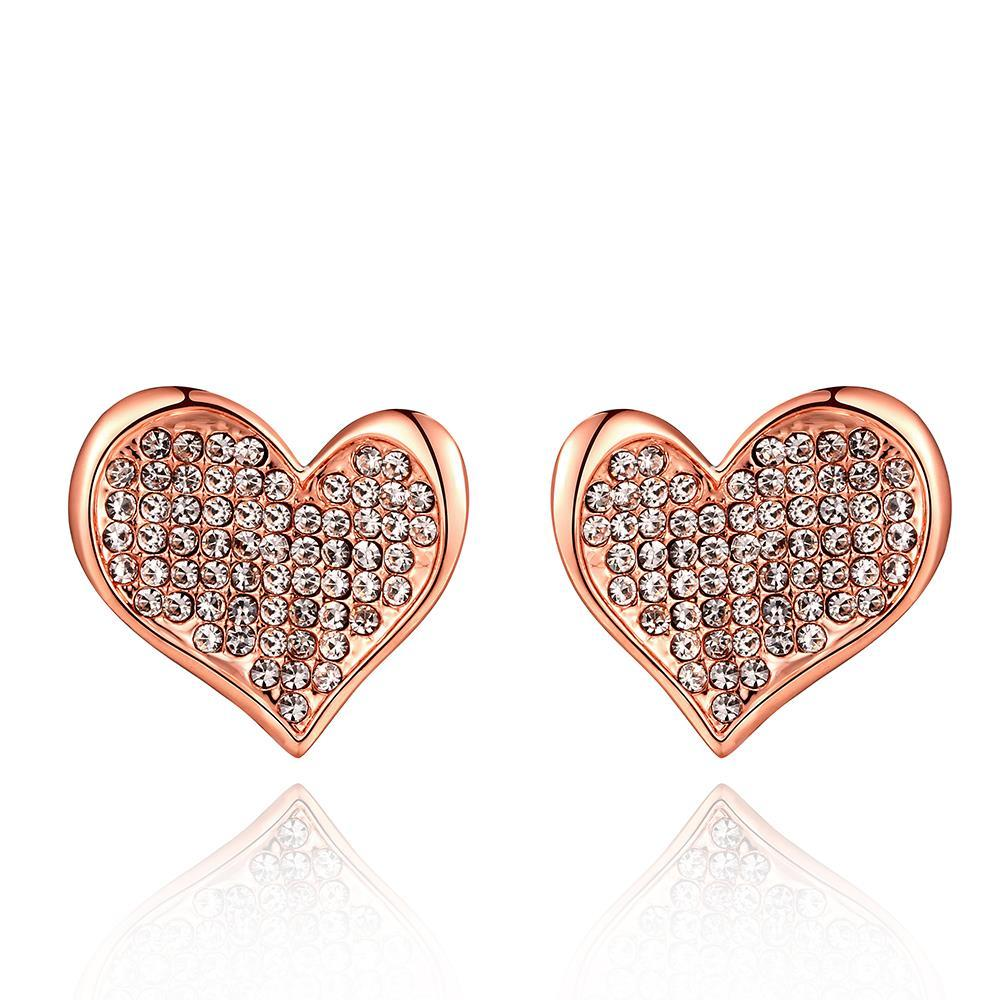 Vienna Jewelry 18K Rose Gold Petite Heart Shaped Earrings Covered with Jewels Made with Swarovksi Elements
