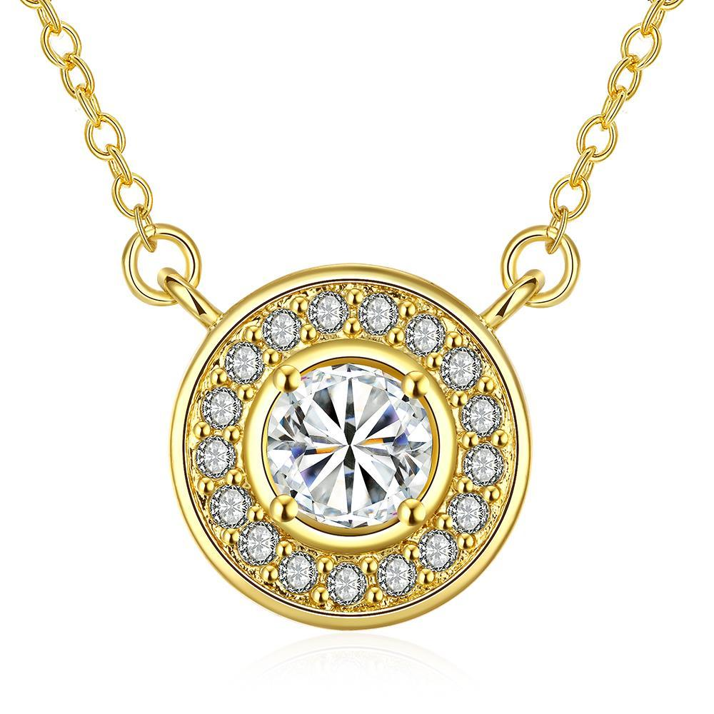 Vienna Jewelry Gold Plated Circular Crystal * Pendant Necklace