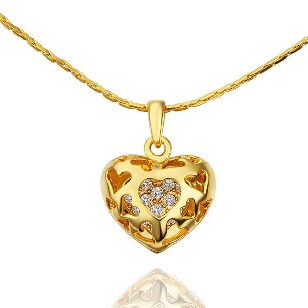 Vienna Jewelry Gold Plated Laser Cut Petite Heart Shaped Necklace