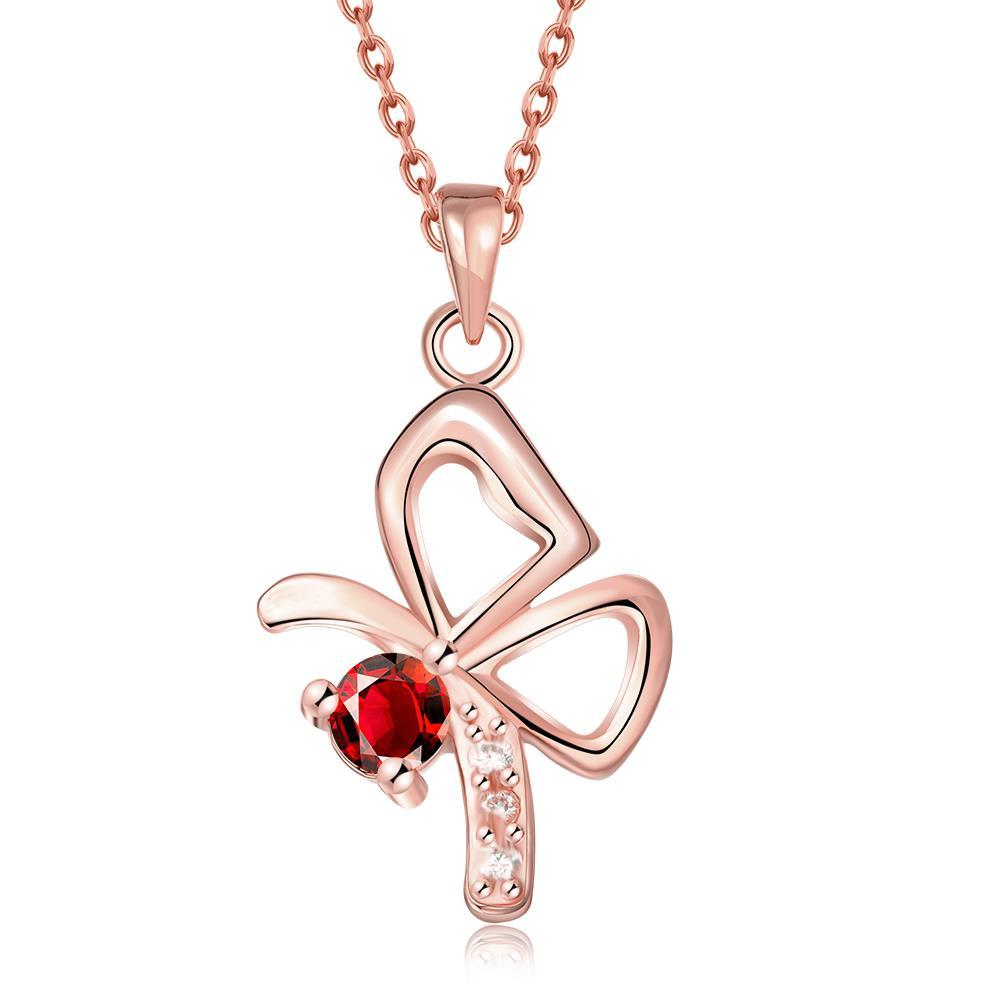 Vienna Jewelry Rose Gold Plated Petite Flying Butterfly Necklace
