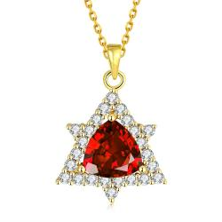 Vienna Jewelry Gold Plated Mini Star Ruby Necklace - Thumbnail 0