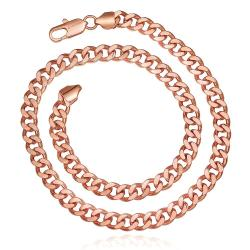 Vienna Jewelry Rose Gold Plated Hollow Interlocking Chain Necklace - Thumbnail 0
