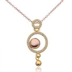 Vienna Jewelry Gold Plated Circular Drop Down Necklace - Thumbnail 0