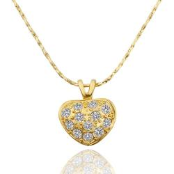Vienna Jewelry Gold Plated Petite Heart Shaped Covered with Jewels Necklace - Thumbnail 0