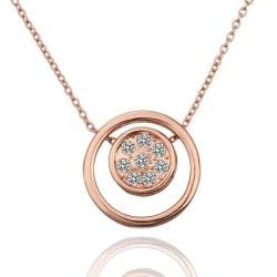 Vienna Jewelry Rose Gold Plated Double Circle Emblem Necklace - Thumbnail 0