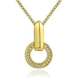 Vienna Jewelry Gold Plated Hollow Spiral Emblem Necklace