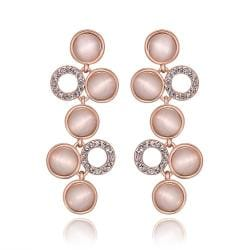 Vienna Jewelry 18K Rose Gold Petite Dangling Drop Down Earrings Made with Swarovksi Elements - Thumbnail 0