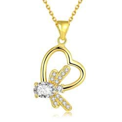 Vienna Jewelry Gold Plated Crystal Filled Heart Necklace - Thumbnail 0