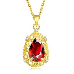 Vienna Jewelry Gold Plated Classic Paris Ruby Necklace - Thumbnail 0