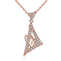 Vienna Jewelry Rose Gold Plated Pyramid Emblem Necklace - Thumbnail 0