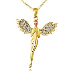 Vienna Jewelry Gold Plated Dangling Angel Necklace - Thumbnail 0