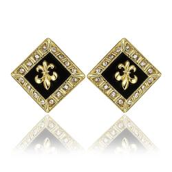 Vienna Jewelry 18K Gold Diamond Shaped Emblem Input Stud Earrings Made with Swarovksi Elements - Thumbnail 0